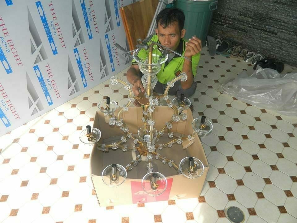 Cuci lampu kristal bapak Joko | Jasa Cuci Lampu Kristal