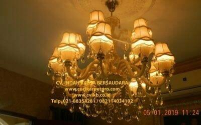 Cuci Lampu Kristal Ibu Christine | Tropicana Residence Cikarang