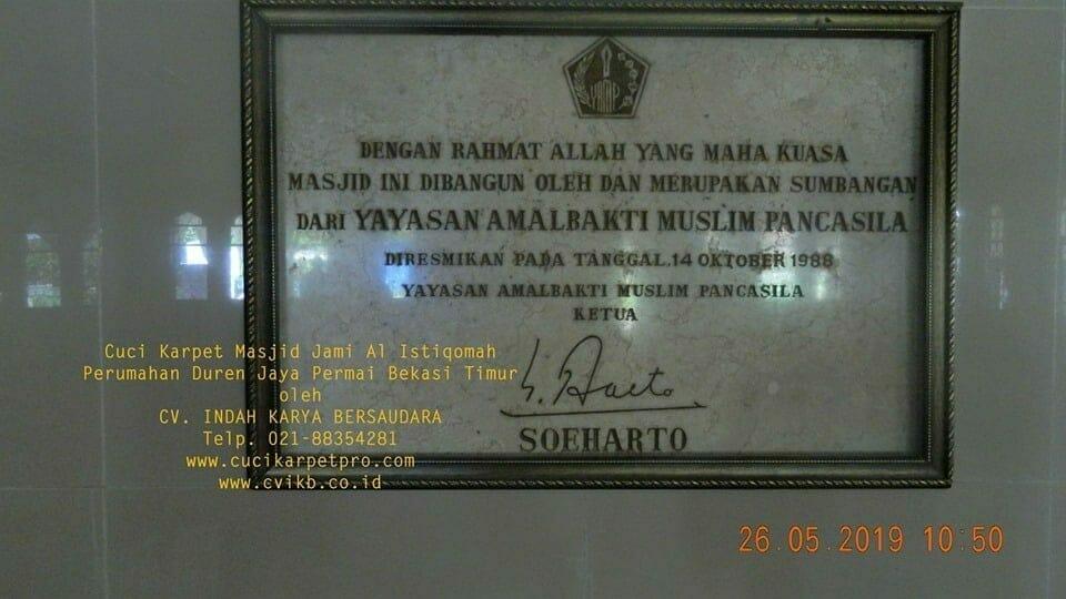 Cuci Karpet Masjid Jami Al Istiqomah Duren Jaya Permai
