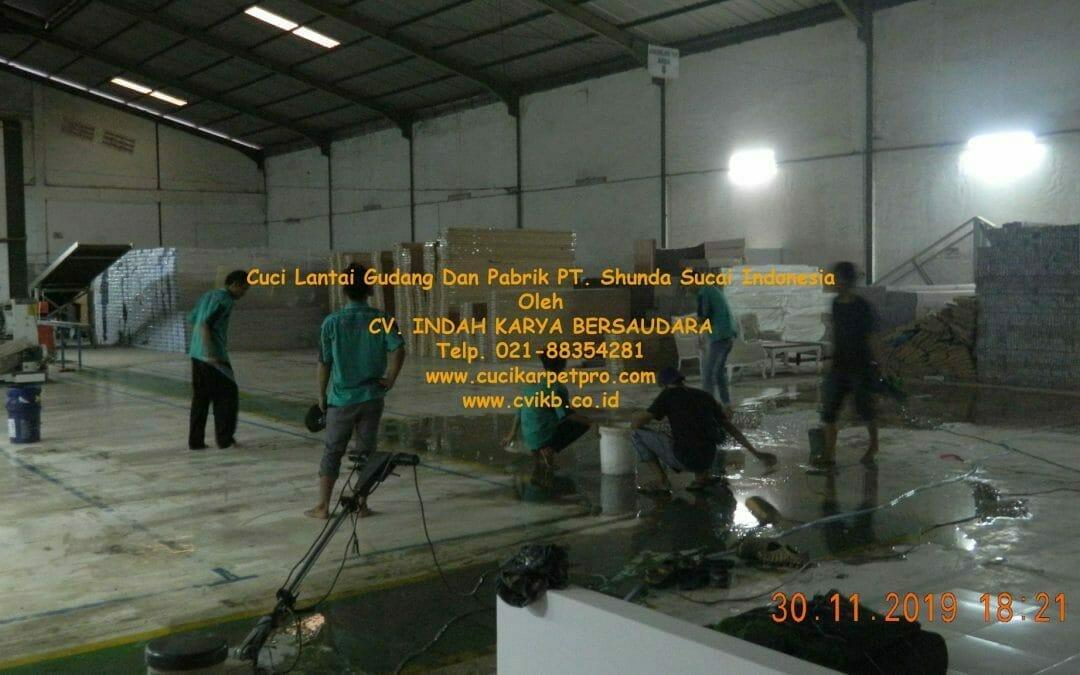 Cuci Lantai Gudang Dan Pabrik PT Shunda Sucai Indonesia