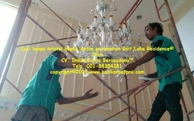 Cuci Lampu Kristal Bapak Anton Perumahan Golf Lake Residence
